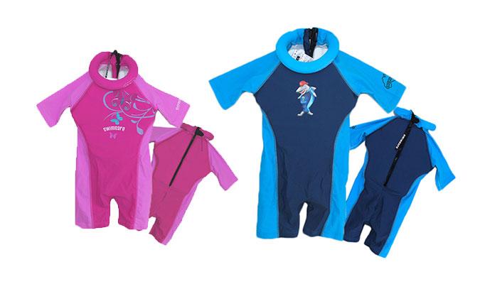 特許取得の浮き具がお子様の泳ぎをサポート、ラッシュガードスーツ、スイムセーフ。
