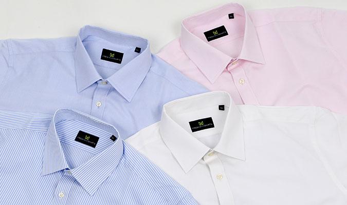 汗染みを防ぐ素材で作ったワイシャツ。