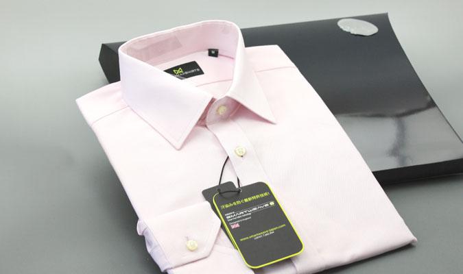 綿100%で汗を染みなせない機能性を実現したワイシャツ