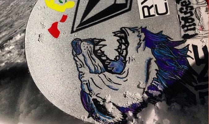 スノーボードにアートペイント ボードスティックス