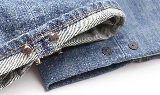 デニムの裾の長さを調整できるピン