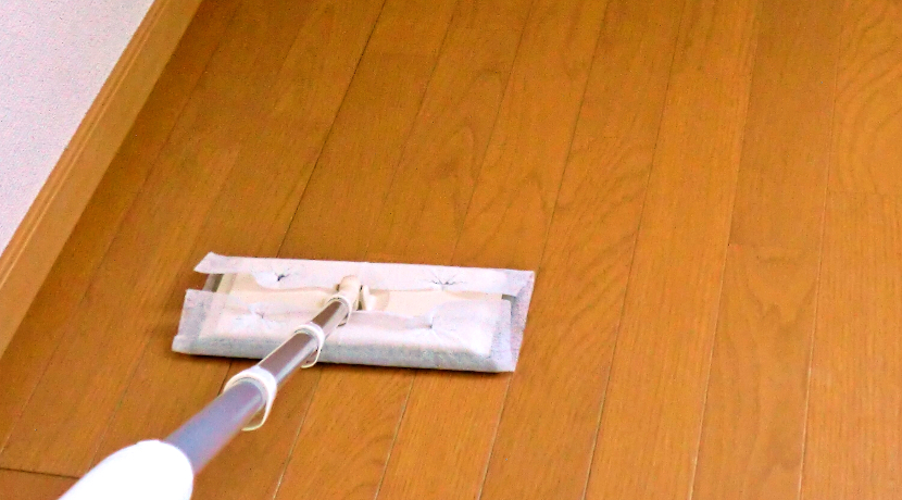 電気ちりとりがおすすめ、フロアワイパーで集めたゴミやホコリを吸い取ってくます。
