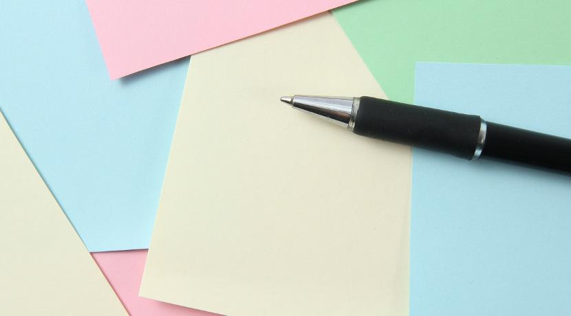 付箋も複写式タイプなら、一度に同じ内容の付箋を複数枚作れます。